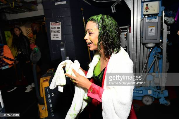 Liza Koshy backstage at Nickelodeon's 2018 Kids' Choice Awards at The Forum on March 24 2018 in Inglewood California