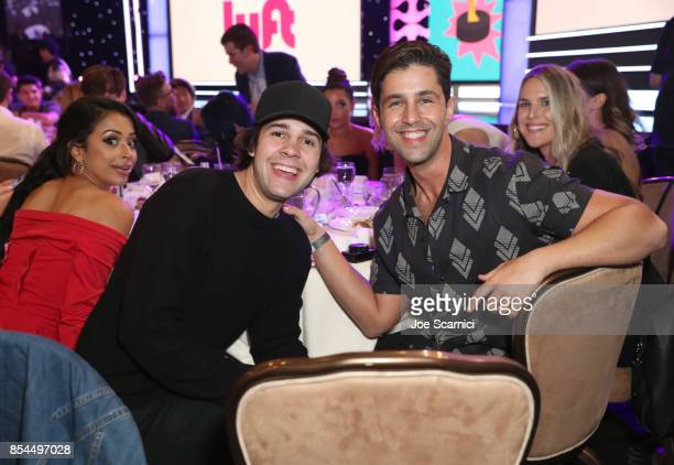 Liza Koshy David Dobrik and Josh Peck at the 2017 Streamy Awards at The Beverly Hilton Hotel on September 26 2017 in Beverly Hills California