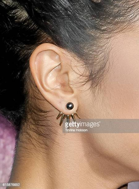 Liza Koshy fashion detail attends the premiere of 'Boo A Madea Halloween' at ArcLight Cinemas Cinerama Dome on October 17 2016 in Hollywood California