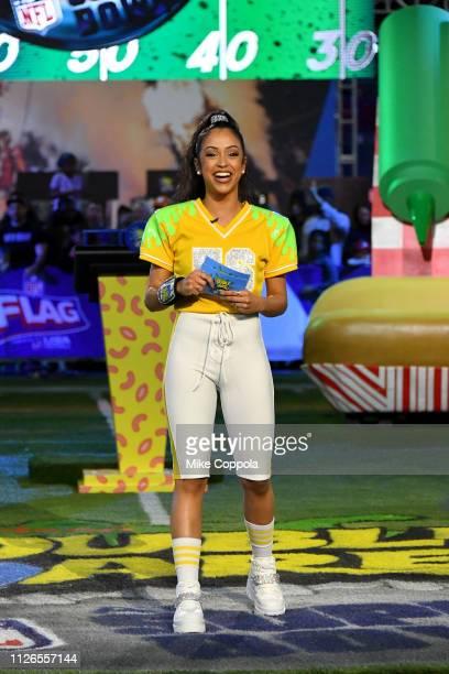 Liza Koshy hosts Nickelodeon's Double Dare Takes The Gridiron At Super Bowl LIII at Georgia World Congress Center on January 31 2019 in Atlanta...