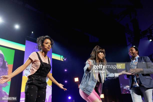 Liza Koshy Kimiko Glenn and Travis Coles appear at YouTube OnStage during VidCon at the Anaheim Convention Center Arena on June 21 2018 in Anaheim...