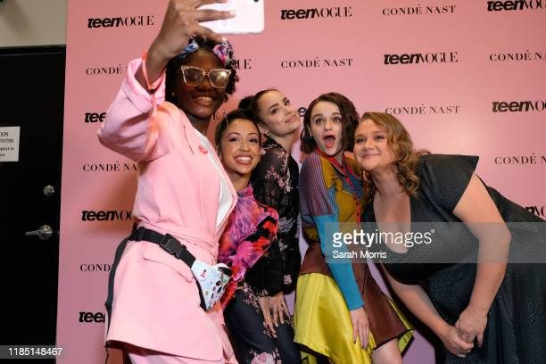 Liza Koshy Sofia Carson Joey King and Danielle Macdonald pose with a a fan at the 2019 Teen Vogue Summit at Goya Studios on November 02 2019 in...