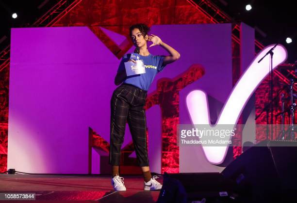 Liza Koshy speaks at the MTV 1 The Vote 'Election Afterparty' at Miami Dade College on November 6 2018 in Miami Florida