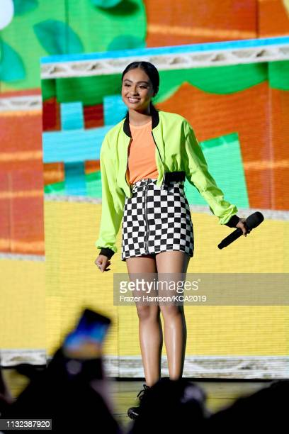 Liza Koshy speaks onstage at Nickelodeon's 2019 Kids' Choice Awards at Galen Center on March 23 2019 in Los Angeles California