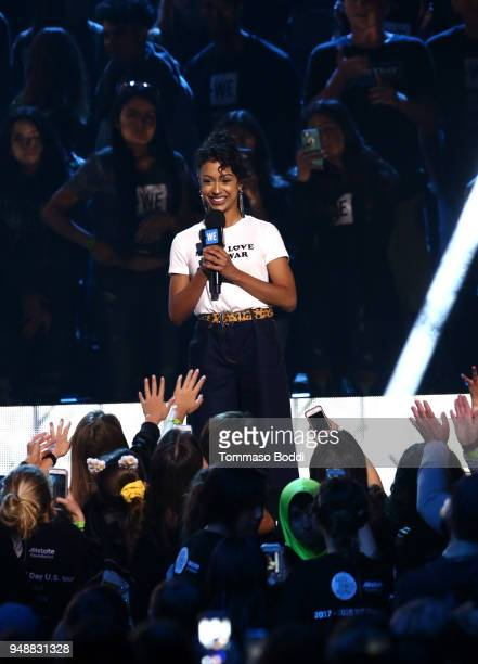 Liza Koshy speaks onstage at WE Day California at The Forum on April 19 2018 in Inglewood California