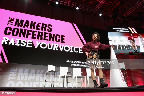 Liza Koshy speaks onstage during The 2018 MAKERS Conference at NeueHouse Hollywood on February 5 2018 in Los Angeles California