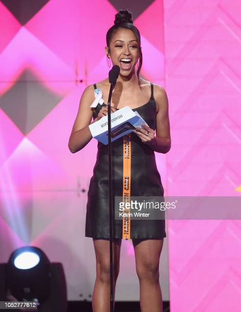 Liza Koshy speaks onstage during The 8th Annual Streamy Awards at The Beverly Hilton Hotel on October 22 2018 in Beverly Hills California