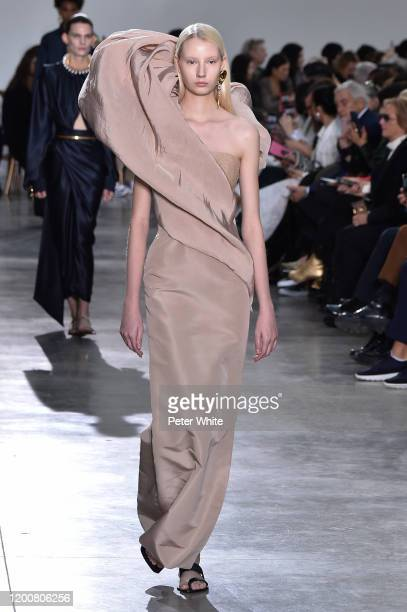 Liza Makeeva walks the runway during the Schiaparelli Haute Couture Spring/Summer 2020 show as part of Paris Fashion Week on January 20, 2020 in...
