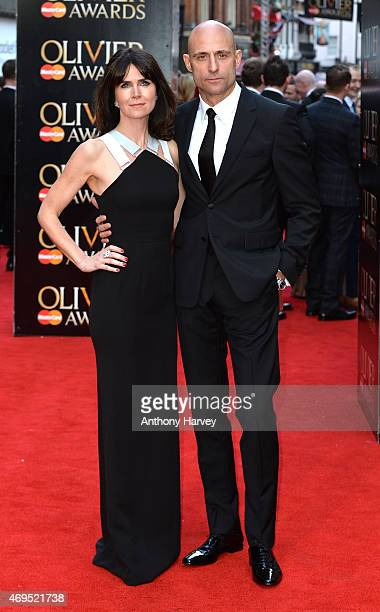 Liza Marshall and Mark Strong attend The Olivier Awards at The Royal Opera House on April 12 2015 in London England
