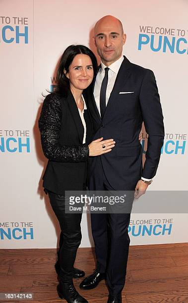 Liza Marshall and Mark Strong attend the UK Premiere of 'Welcome To The Punch' at the Vue West End on March 5 2013 in London England