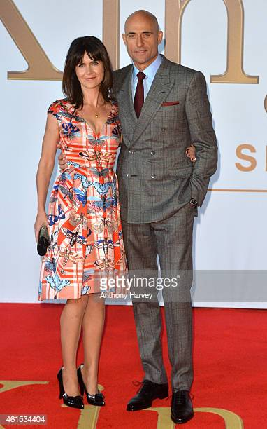Liza Marshall and Mark Strong attend the World Premiere of 'Kingsman The Secret Service' at Odeon Leicester Square on January 14 2015 in London...