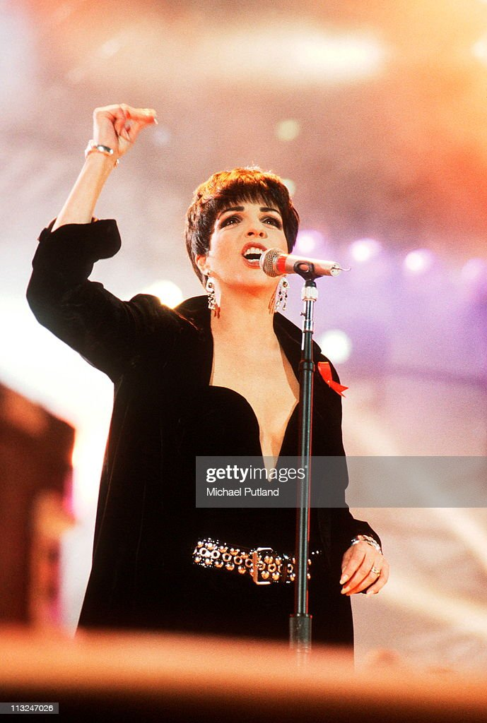 Liza Minelli perform on stage at the Freddie Mercury Tribute Concert for AIDS Awareness at Wembley Stadium, April 20th 1992.