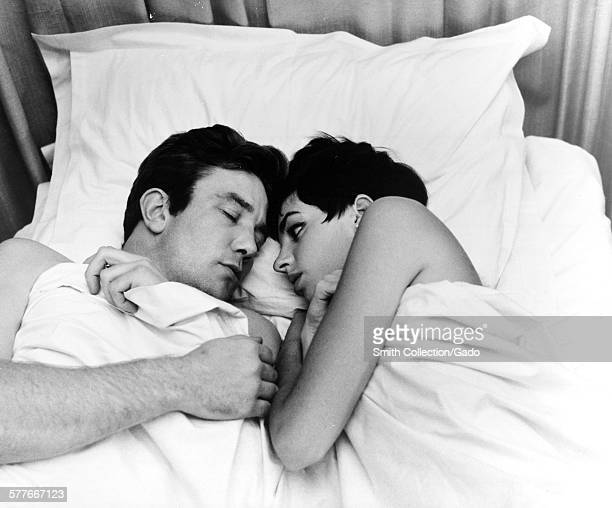 Liza Minnelli and Albert Finney lying in bed during the film Charlie Bubbles 1967