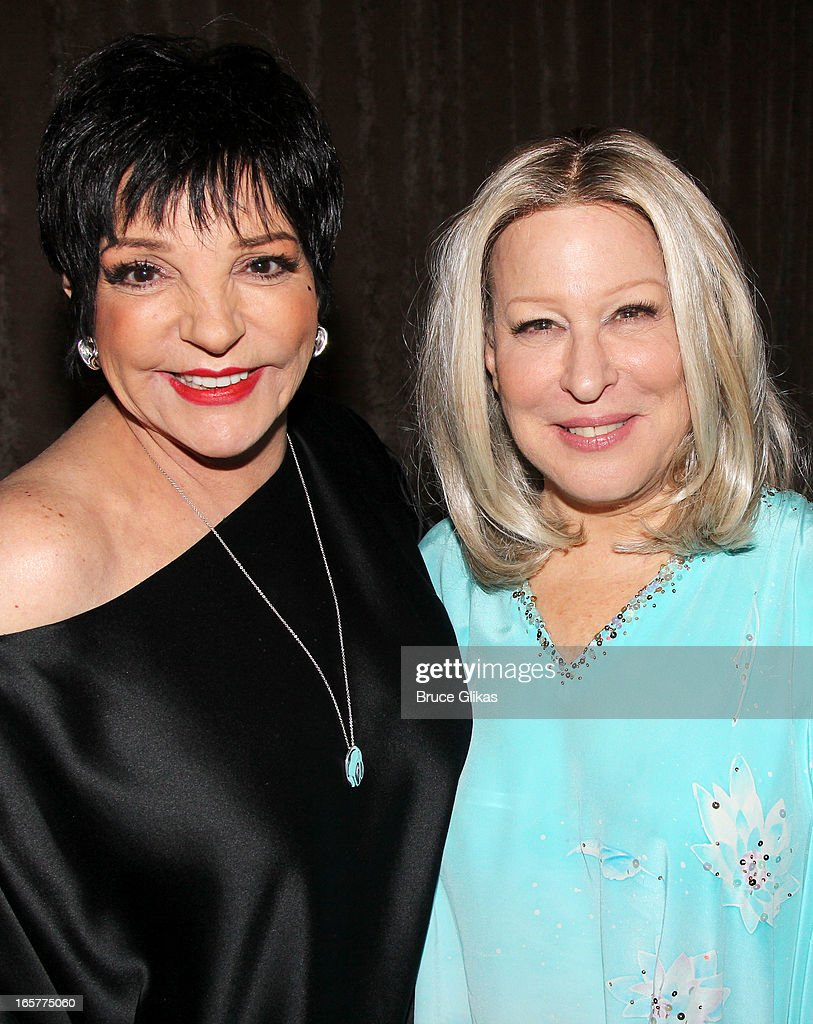 Liza Minnelli and Bette Midler pose backstage at the hit comedy 'I'll Eat you Last' on Broadway at The Booth Theater on April 5, 2013 in New York City.