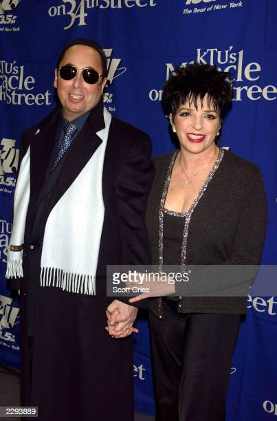 Liza Minnelli and husband David Gest backstage during KTU's Miracle on 34th Street hoilday concert at Madison Square Garden in New York City December...