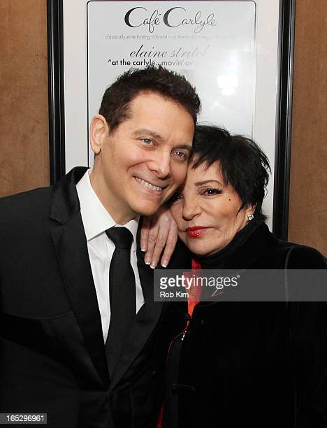 """Liza Minnelli and Michael Feinstein attend """"Elaine Stritch At The Carlyle: Movin' Over And Out"""" at Cafe Carlyle on April 2, 2013 in New York City."""