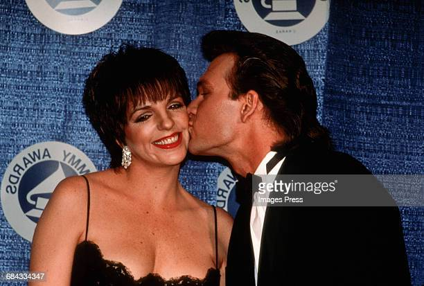 Liza Minnelli and Patrick Swayze attend the 30th Annual Grammy Awards circa 1988 in New York City