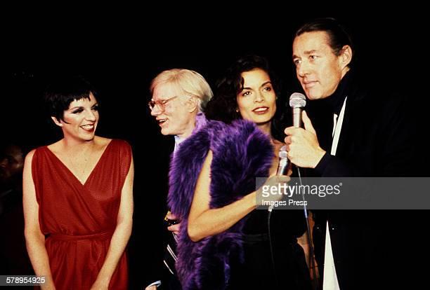 1970s: Liza Minnelli, Andy Warhol, Bianca Jagger and Halston circa 1970s in New York City.