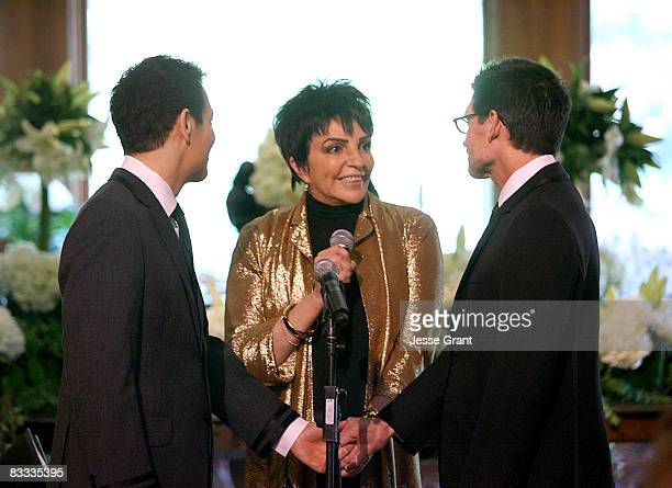Liza Minnelli attends Michael Feinstein and Terrence Flannery's wedding ceremony held at a private residence on October 17 2008 in Los Angeles...