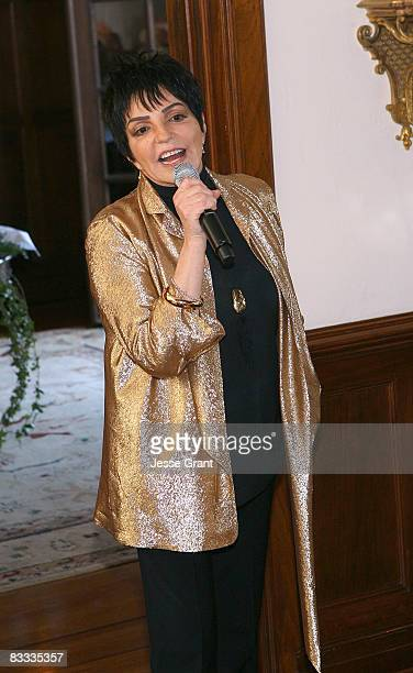 Liza Minnelli attends the wedding of Michael Feinstein and Terrence Flannery held at a private residence on October 17 2008 in Los Angeles California