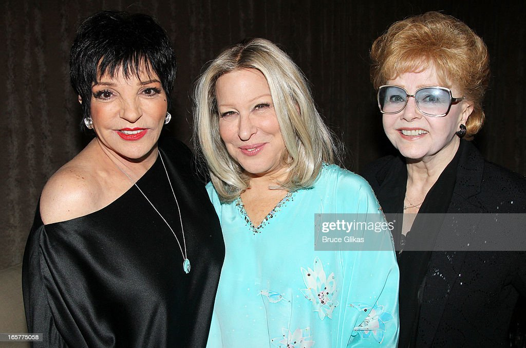 Liza Minnelli, Bette Midler and Debbie Reynolds pose backstage at the hit comedy 'I'll Eat you Last' on Broadway at The Booth Theater on April 5, 2013 in New York City.