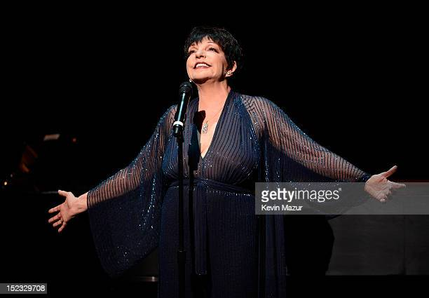 Liza Minnelli performs If You Really Knew Me from They're Playing My Song on stage at the memorial of Marvin Hamlisch at Peter Jay Sharp Theater on...