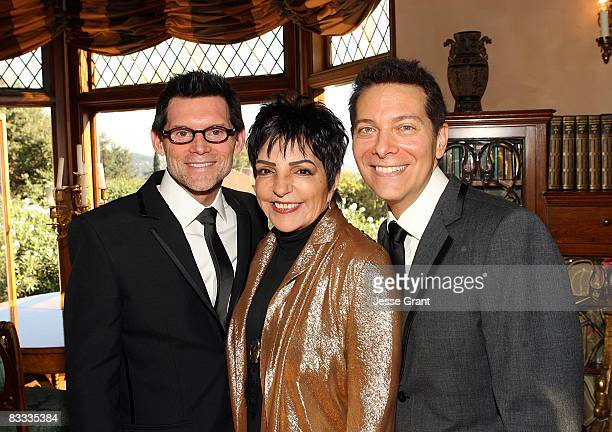 Liza Minnelli poses with Terrence Flannery and Michael Feinstein during their wedding ceremony held at a private residence on October 17 2008 in Los...
