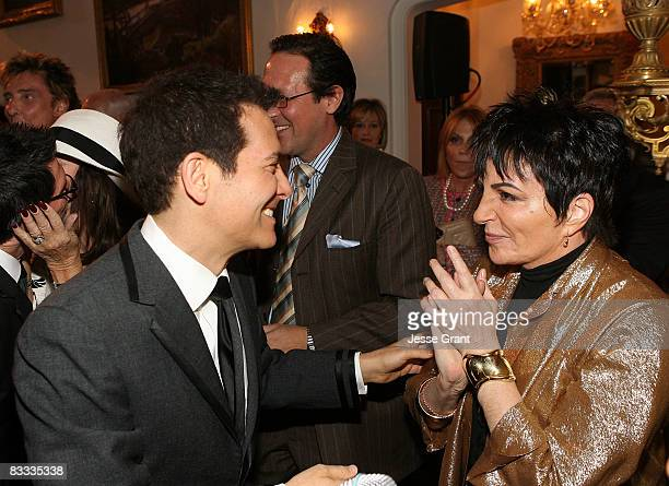Liza Minnelli talks to Michael Feinstein during his wedding with Terrence Flannery held at a private residence on October 17 2008 in Los Angeles...