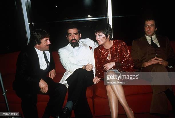 Liza Minnelli with Robert De Niro, Martin Scorsese and Al Pacino circa 1981 in New York City.