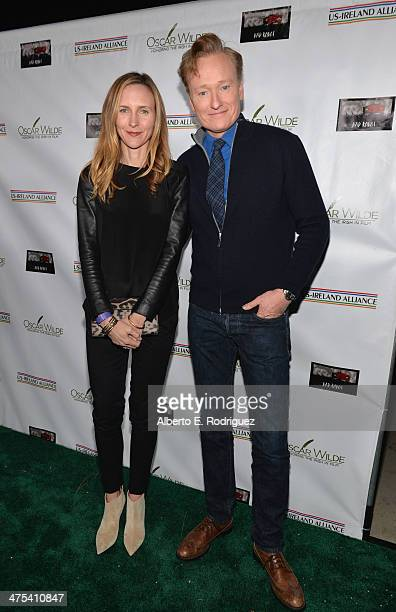Liza Powel and TV Personality/Honoree Conan O'Brien attend the 9th Annual 'Oscar Wilde Honoring The Irish In Film' PreAcademy Awards event at Bad...