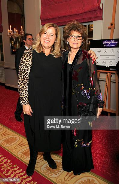 Liza Tarbuck and Nanette Newman attend the National Youth Theatre Fundraiser 'Strictly Come Downton' at Bloomsbury Hotel on December 1 2014 in London...