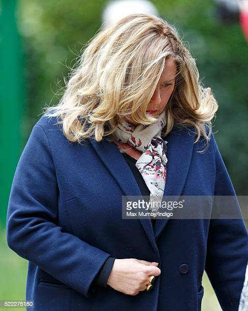 Liza Tarbuck attends the funeral of entertainer Ronnie Corbett at the church of St John the Evangelist on April 18, 2016 in Shirley, England. Ronnie...
