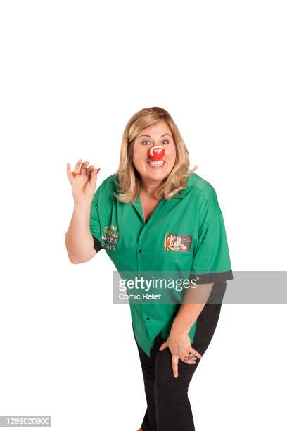 Liza Tarbuck, takes part in Red Nose Day 2015, on 16 February, 2014. In the studio, in London.