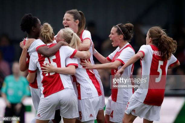 Liza van der Most of Ajax Women celebrates 31 with Inessa Kaagman of Ajax Women Linda Bakker of Ajax Women Inessa Kaagman of Ajax Women Nicky van den...