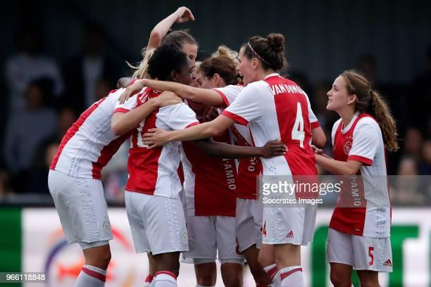 Liza van der Most of Ajax Women celebrates 31 with Inessa Kaagman of Ajax Women Nicky van den Abbeele of Ajax Women Marjolijn van den Bighelaar of...