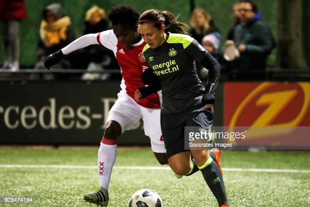 Liza van der Most of Ajax Women Vanity Lewerissa of PSV Women during the Dutch Eredivisie Women match between Ajax v PSV at the De Toekomst on...