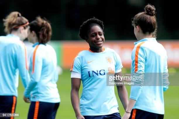 Liza van der Most of Holland Women Merel van Dongen of Holland Women during the Training Holland Women at the KNVB Campus on April 3 2018 in Zeist...