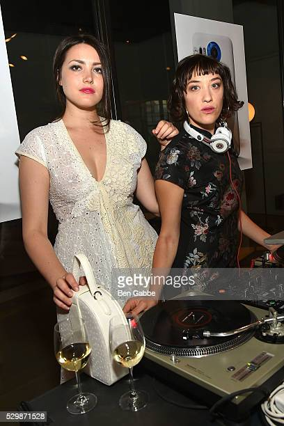 Liza Voloshin and Mia Moretti attend the Jeff Koons x Google launch on May 09 2016 in New York New York