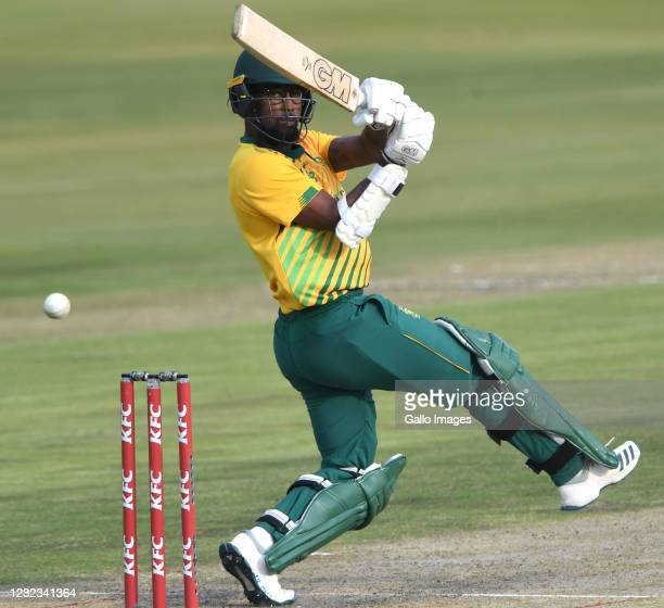 Lizaad Williams of South Africa during the 4th KFC T20 International match between South Africa and Pakistan at SuperSport Park on April 16, 2021 in...