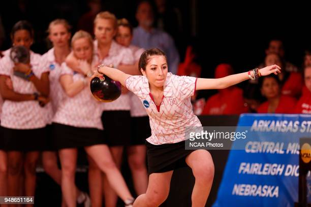 Lizabeth Kuhlkin of the University of Nebraska competes during the Division I Women's Bowling Championship held at Tropicana Lanes in St Louis MO The...
