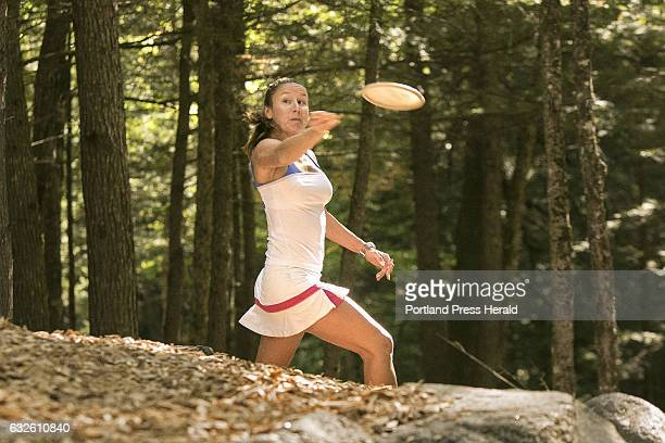 Lizbeth Besok releases her disc while practicing on a course at the Sabattus Disc Golf course in Sabattus on Wednesday September 21 2016 Besok from...