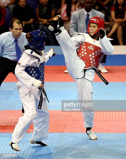 Lizbeth Diez Canseco of Peru in action with Jannet Alegria of Mexico during the Women's Taekwondo under 49KG category during Day One of the XVI Pan...