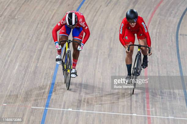 Lizbeth Salazar of Mexico and Arlenis Sierra Cañadilla compete in Omnium Women Points Race Finals at Velodrome of VIDENA on Day 8 of Lima 2019 Pan...