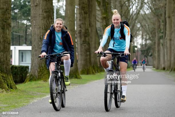 Lize Kop of Holland Women, Danique Kerkdijk of Holland Women during the Training Holland Women at the KNVB Campus on April 2, 2018 in Zeist...