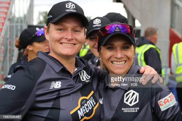 Lizelle Lee and Mignon du Preez of Manchester Originals pose for a photo during The Hundred match between Manchester Original and Southern Brave at...