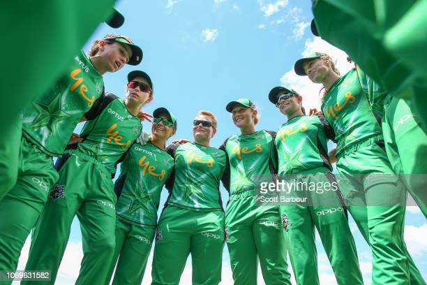 Lizelle Lee and the Stars form a team huddle during the Women's Big Bash League match between the Hobart Hurricanes and the Melbourne Stars at West...