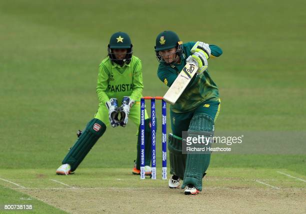Lizelle Lee of South Africa bats during the ICC Women's World Cup group match between Pakistan and South Africa at Grace Road on June 25 2017 in...