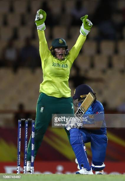 Lizelle Lee of South Africa celebrates catching Oshadi Ranasinghe of Sri Lanka off the bowing of Dane van Niekerk of South Africa during the ICC...