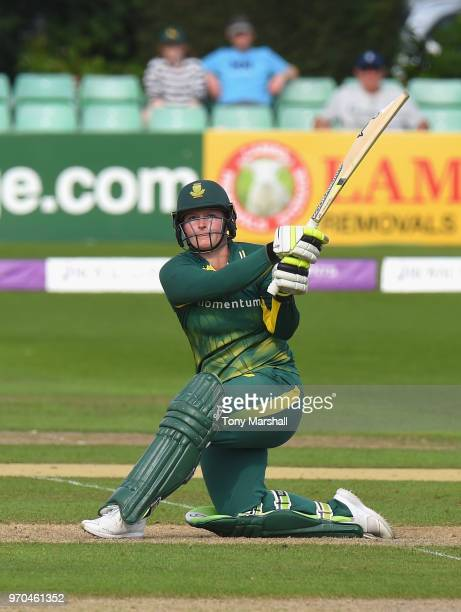 Lizelle Lee of South Africa hits a six to win the 1st ODI ICC Women's Championship match between England Women and South Africa Women at New Road on...