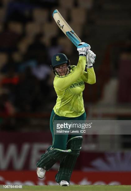 Lizelle Lee of South Africa hits the ball towards the boundary during the ICC Women's World T20 2018 match between West Indies and South Africa at...